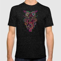 Owl Pink Mens Fitted Tee Tri-Black SMALL