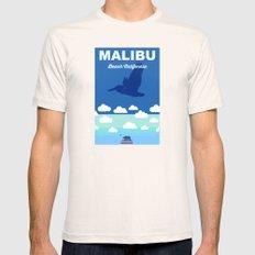 Malibu - California.  Mens Fitted Tee Natural SMALL