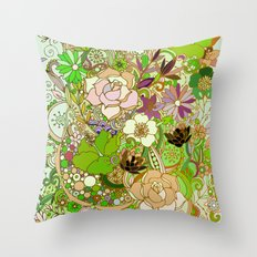 Detailed summer floral pattern, green Throw Pillow