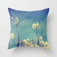 Blossoms On Blue Sky Throw Pillow