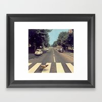 Why did the chicken cross THE road? Framed Art Print