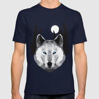 The Tundra Wolf Mens Fitted Tee Navy SMALL