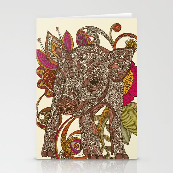Paisley Piggy Stationery Card
