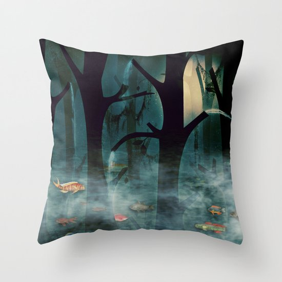 The Woods at Night Throw Pillow