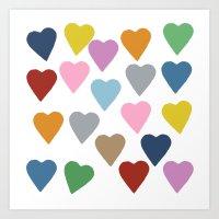 Hearts Colour Art Print