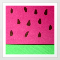 Watermelon Papercut Art Print