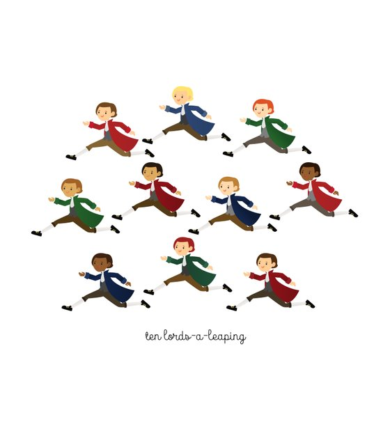Ten Lords-a-leaping Art Print