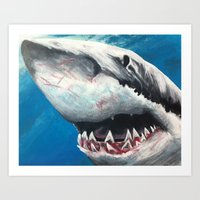 shark Art Prints featuring Shark by Kristin Frenzel