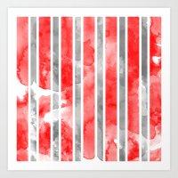 Watercolour Stripe - Red Art Print