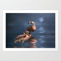 Flamingo Moon Art Print