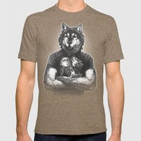 Four Wolf Moon Mens Fitted Tee Tri-Coffee SMALL