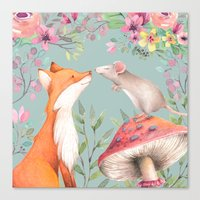 Fox & mouse Canvas Print