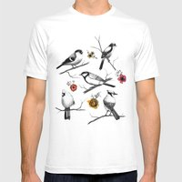 BIRDS & FLOWERS Mens Fitted Tee White SMALL