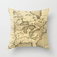 Great Lakes Map - 1737 Throw Pillow