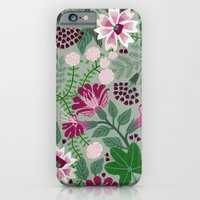 Magenta flowers on grey iPhone 6 Slim Case
