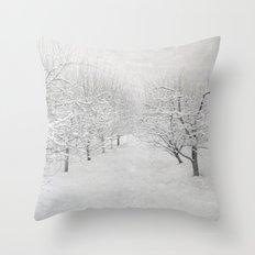 Winter Apple Orchard Throw Pillow