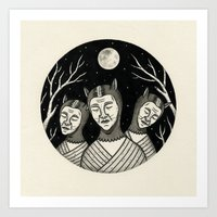 Trio of Narcoleptic Cats Art Print