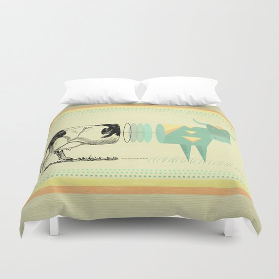 the black and white cow who wanted to be colorfully geometric  Duvet Cover