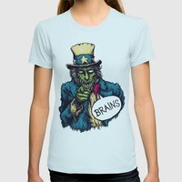 Brains Womens Fitted Tee Light Blue SMALL