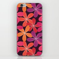 Hippie Orange and pink flowers  iPhone & iPod Skin