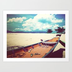 Longboat on the Shore, Thailand Art Print