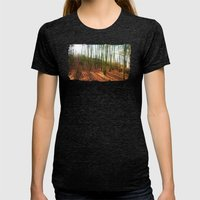 Autumn Sun And Shadows Womens Fitted Tee Tri-Black SMALL