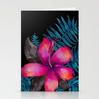 Pink Hibiscus Flower - BLACK Stationery Cards