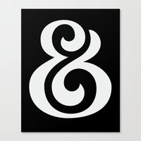 Ampersand II White on Black Canvas Print