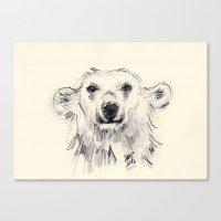Polar Bear Smiling Black… Canvas Print