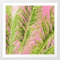 Tropical Palm Pink Green Art Print