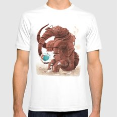 Space Brontosaurus  White SMALL Mens Fitted Tee