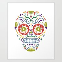 Sugar Skull SF multi 2 - on white Art Print