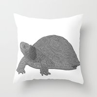Turtle Illustration B/W Throw Pillow