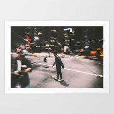 Skate in street 4 Art Print