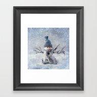 Cute Snowman Frozen Free… Framed Art Print