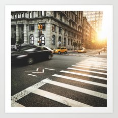taxi motion blur in nyc Art Print