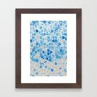 Cubes & Diamonds In Blue… Framed Art Print