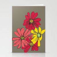Grey Flowers Stationery Cards