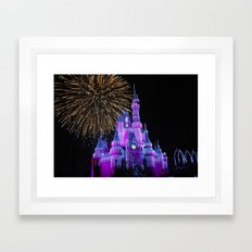 Disney Magic Kingdom Fireworks at Christmas - Cinderella Castle Framed Art Print