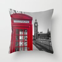 Big Ben and Red telephone box Throw Pillow