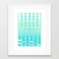 Aqua Watercolor With Ombre Harlequin Pattern Framed Art Print