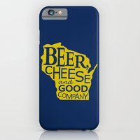Blue and Gold Beer, Cheese and Good Company Wisconsin Graphic iPhone 6 Slim Case