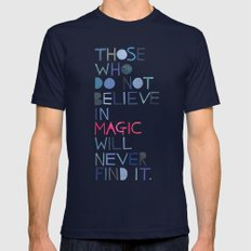 Believe in magic... Mens Fitted Tee Navy SMALL