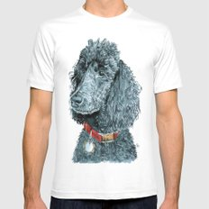 Whitney the Poodle SMALL White Mens Fitted Tee