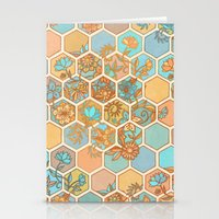 Golden Honeycomb Tangle - hexagon doodle in peach, blue, mint & cream Stationery Cards