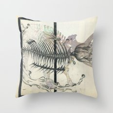 rose-Fish-bone dinosaur Throw Pillow