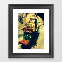 Vintage Christmas Robot Framed Art Print