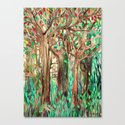 Walking through the Forest - watercolor painting collage Canvas Print