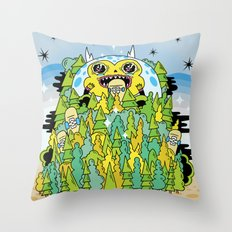 The Monster of Skate Forest Throw Pillow