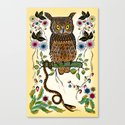 Vibrant Jungle Owl and Snake Canvas Print
